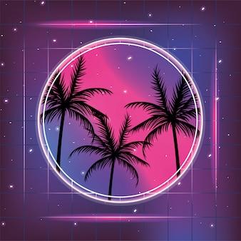 Galaxy con etichetta stile geometrico e palme