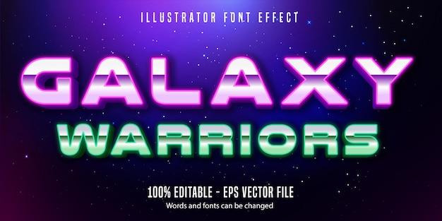 Galaxy warriors text, effetto di testo modificabile in stile neon