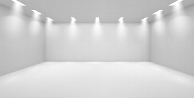Galleria d'arte stanza vuota con pareti bianche e lampade