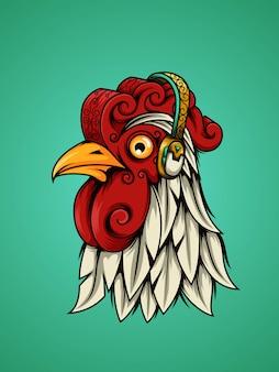 Gallo decorativo ascolta musica