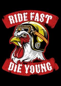 Gallo indossando l'emblema del casco vintage
