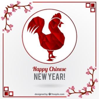Gallo poligonale con decorazione floreale per il nuovo anno cinese