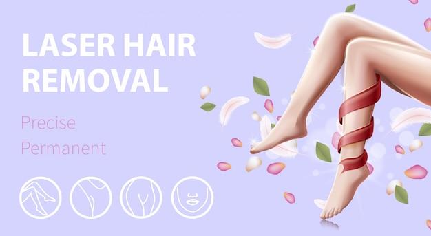 Gambe femminili lisce con banner promozionale perfect skin