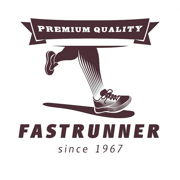 Gambe in esecuzione con design logo scarpa sportiva