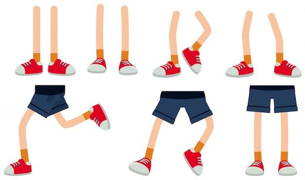 Gambe umane su sfondo bianco