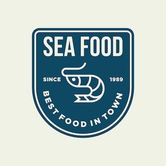 Gamberetti di frutti di mare per la progettazione del logo della linea ristorante