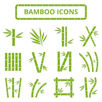Gambi e foglie di bambù icone vettoriali.