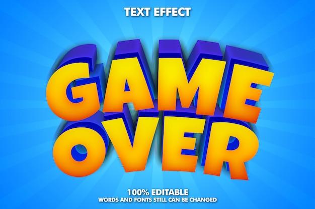 Game over sticker, effetto testo fantasia cartoon