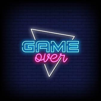 Game over testo in stile neon