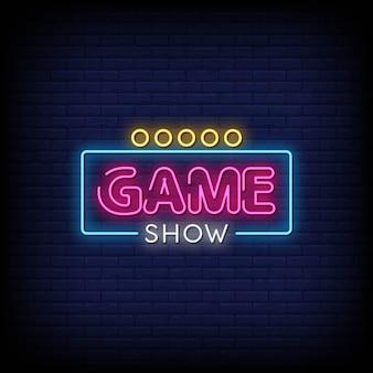 Game show insegne al neon in stile testo
