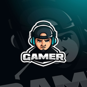 Gamer avatar di gioco youtuber con cuffie per logo esport