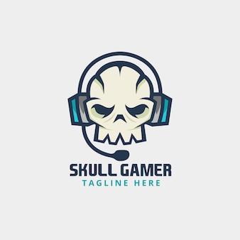 Gamer skull with headphone logo