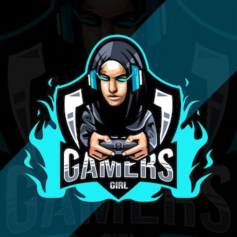 Gamers girl mascot logo design