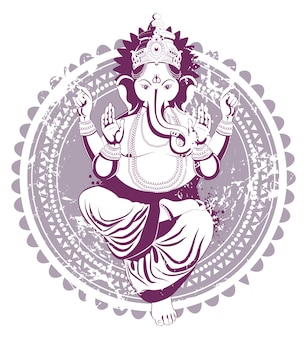 Ganesh disegnato a mano in stile vintage