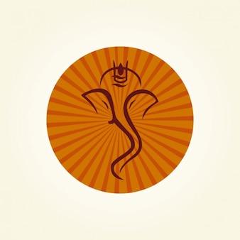 Ganesha silhouette all'interno di un cerchio