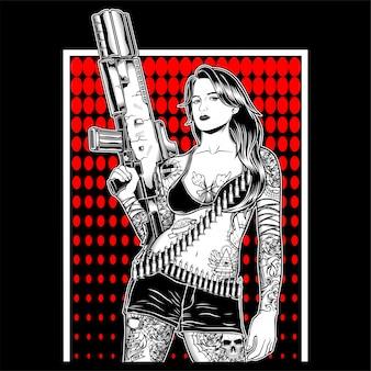 Gangster della mafia delle donne che maneggia vettore della pistola