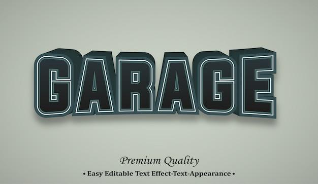Garage 3d effetto stile carattere