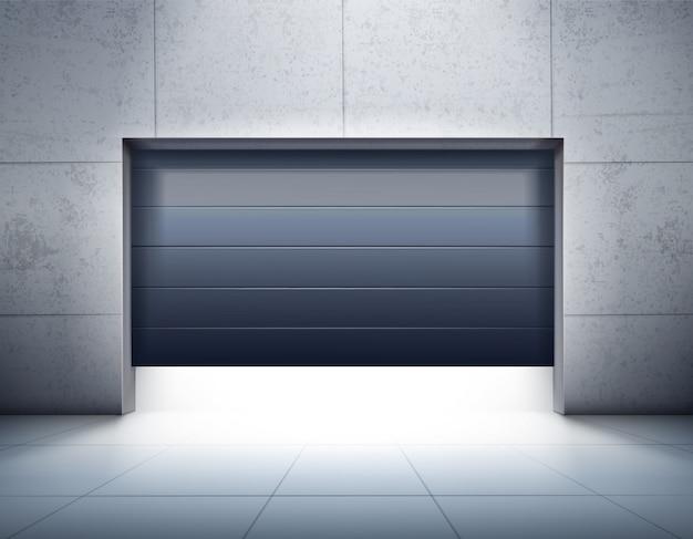 Garage che apre composizione realistica