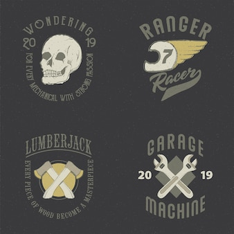 Garage di macchina del motociclo di logo retrò vintage grunge