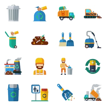 Garbage recycling color icons