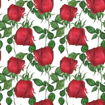 Garden red rose seamless pattern