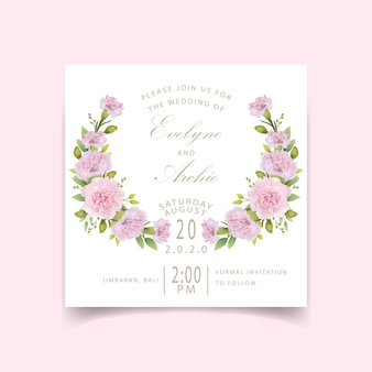 Garofani rosa floreali dell'invito di nozze