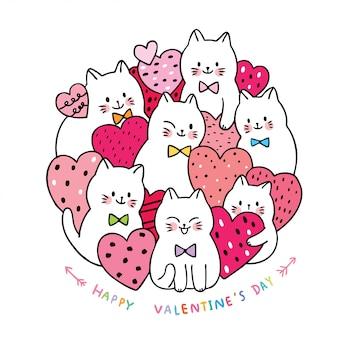Gatti bianchi svegli del giorno di biglietti di s. valentino del fumetto e vettore di molti cuori.
