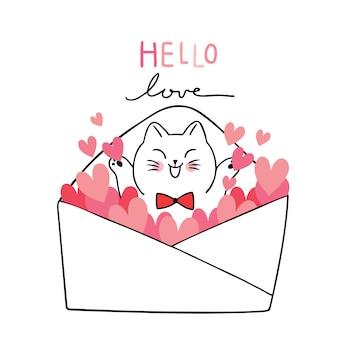 Gatti bianchi svegli di san valentino del fumetto e molti cuori nel vettore della lettera.