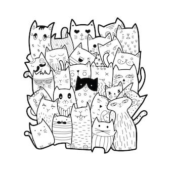 Gatti carini, stile doodle.