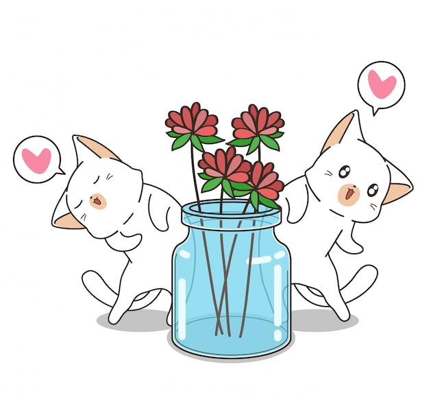 Gatti disegnati a mano kawaii e fiori in bottiglia