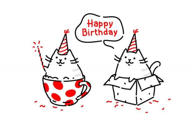 Gatti divertenti dei cartoni animati. kitty augura buon compleanno seduto in una scatola e in una tazza. vettore.