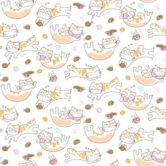 Gatti divertenti e fondo senza cuciture del modello della tazza di caffè