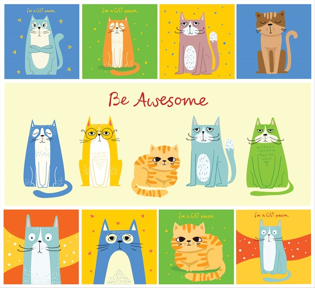 Gatti fantastici. disegno di auguri stile hipster alla moda di vettore, stampa t-shirt, poster di ispirazione nel design piatto