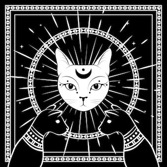 Gatti neri, faccia di gatto con la luna sul cielo notturno con cornice rotonda ornamentale.