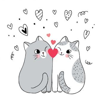 Gatti svegli delle coppie di giorno di biglietti di s. valentino del fumetto e vettore del cuore.