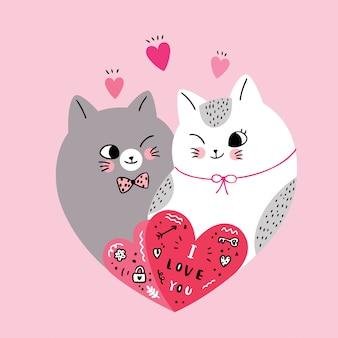 Gatti svegli delle coppie di giorno di biglietti di s. valentino del fumetto nel vettore del cuore di forma.