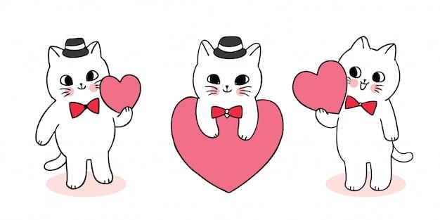 Gatti svegli di san valentino del fumetto che giocano il vettore del cuore.