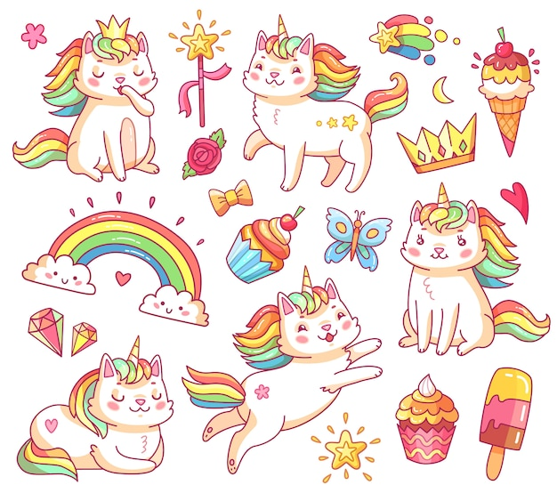 Gatti unicorno magici in corona, cupcakes dolci, gelato, arcobaleno e nuvole.