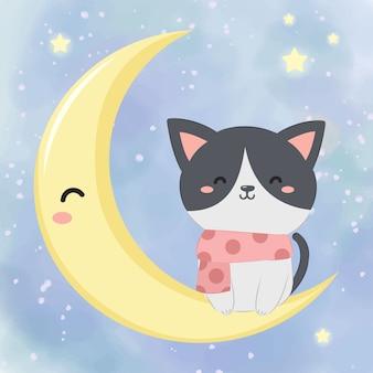 Gattino carino con la luna per la decorazione delle vacanze