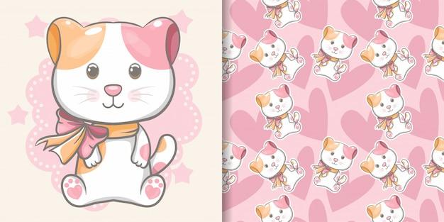 Gattino carino con pattern senza soluzione di continuità