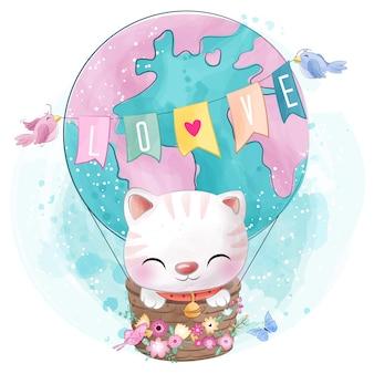 Gattino carino in mongolfiera