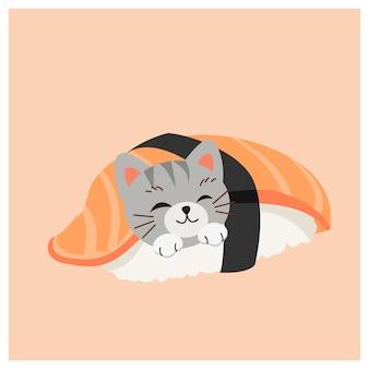 Gattino carino in sushi, sushi giapponese, sushi salmone.