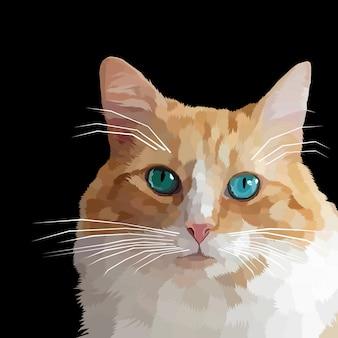 Gattino carino poligonale