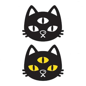 Gattino di vettore del gatto un fumetto di tre occhi