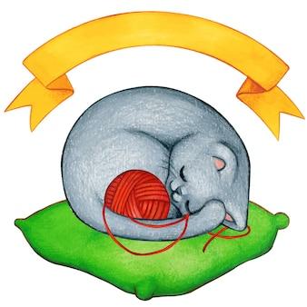 Gattino grigio sveglio dell'acquerello che dorme con il filato rosso
