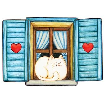 Gattino sveglio dell'acquerello su una finestra accogliente del paese