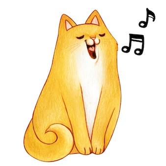 Gattino sveglio dello zenzero dell'acquerello che canta