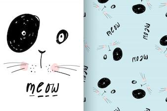Gattino sveglio disegnato a mano con l'insieme di vettore del modello