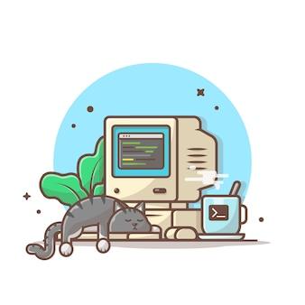 Gatto addormentato sul computer portatile con l'illustrazione del caffè e della pianta. icona dell'area di lavoro isolata