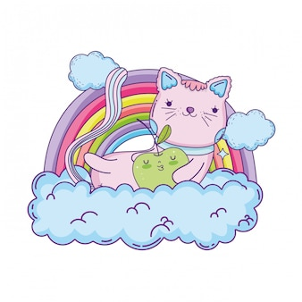 Gatto carino con mela fresca e arcobaleno